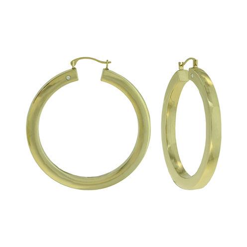 Prestige Gold™ 14K Yellow Gold Over Resin Square-Edge Hoop Earrings