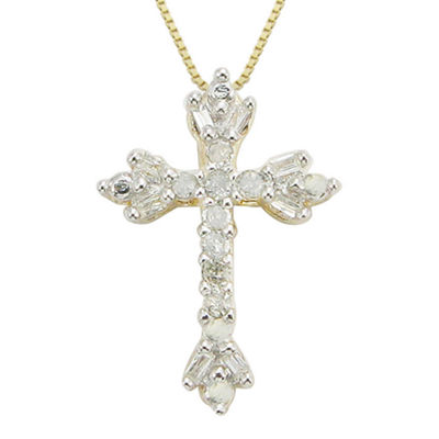1/10 CT. T.W. Diamond Floral Cross Pendant Necklace