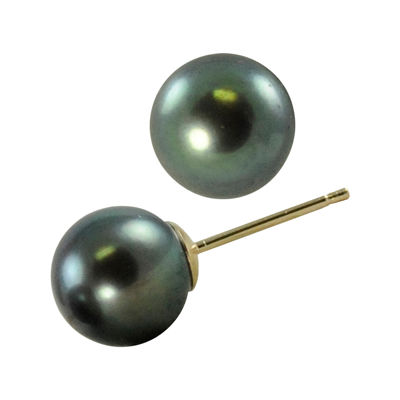 Tahitian Pearl 9-10mm 10K Yellow Gold Stud Earrings