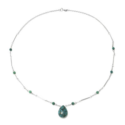 Enhanced Turquoise Teardrop on Sterling Silver Station Necklace