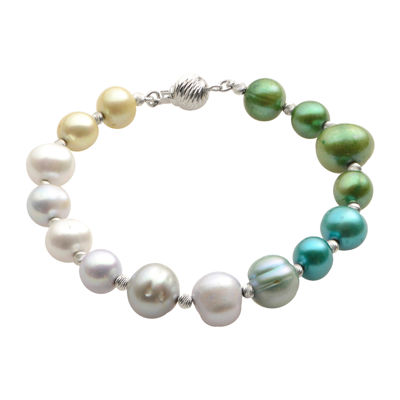 Cultured Freshwater Green & Blue Pearl Sterling Silver Ombré Bracelet