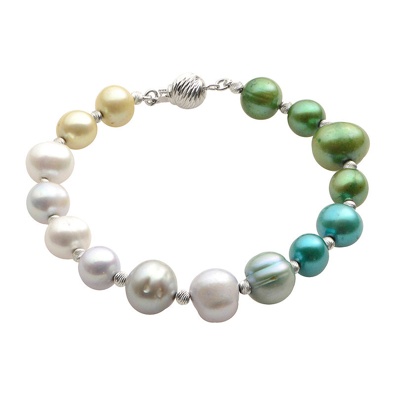 Cultured Freshwater Green & Blue Pearl Sterling Silver Ombr Bracelet