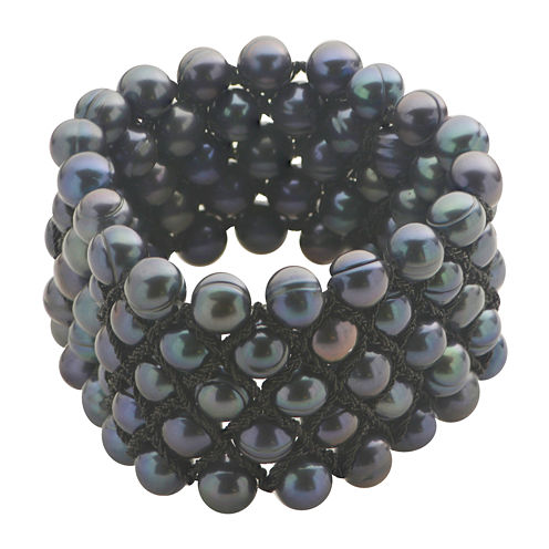 Black Cultured Freshwater Pearl Sterling Silver 5-Row Stretch Bracelet