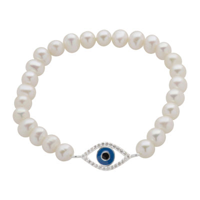 Cultured Freshwater Pearl Evil Eye Stretch Bracelet