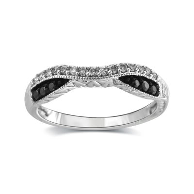 1/4 CT. T.W. White and Color-Enhanced Black Diamond 10K White Gold Wedding Band