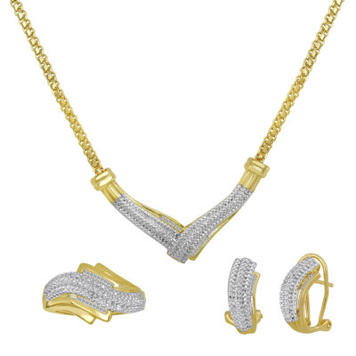 1/4 CT. T.W. Diamond Two-Tone 3-pc. Jewelry Set