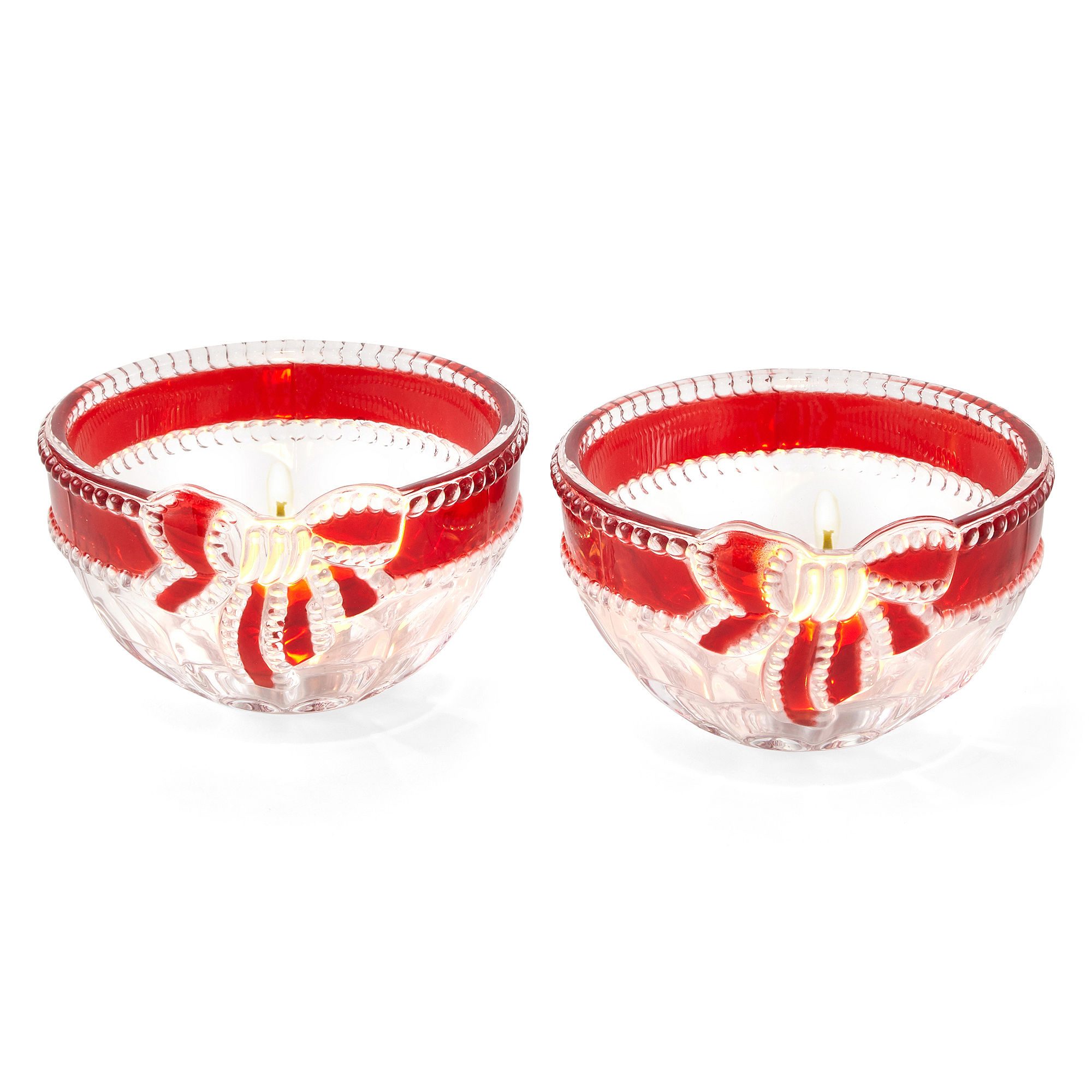 Mikasa Ruby Ribbon Set of 2 Glass Tealight Candle Holders
