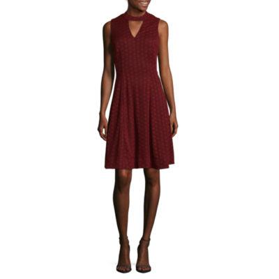 Robbie Bee Sleeveless Circles Fit & Flare Dress-Petites