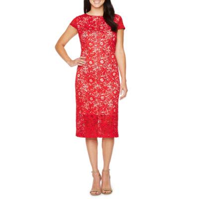 Ronni Nicole Short Sleeve Floral Sheath Dress