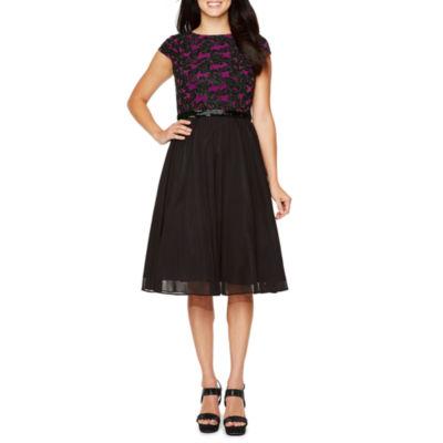 Jackie Jon Short Sleeve Embroidered Fit & Flare Dress