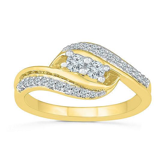 Womens 2MM 1/3 CT. T.W. Genuine White Diamond 10K Gold Band