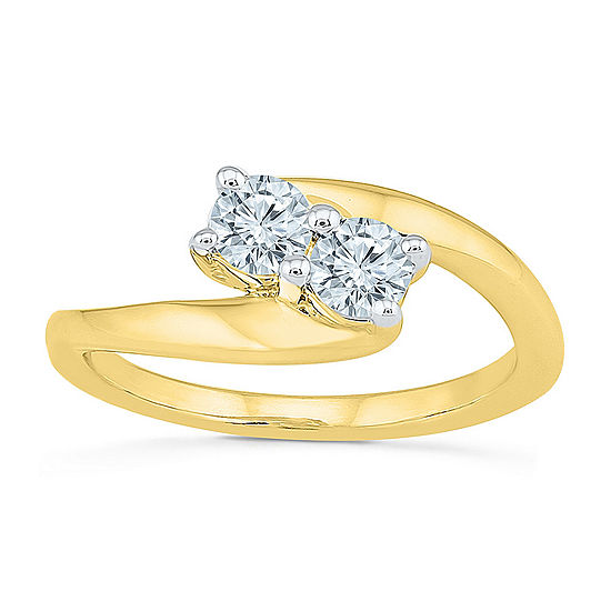 Womens 2MM 1/2 CT. T.W. Genuine White Diamond 10K Gold Band