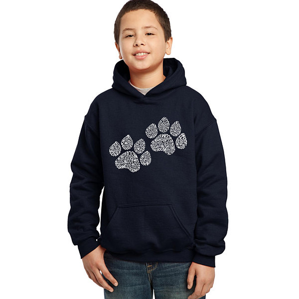Los Angeles Pop Art Woof Paw Prints Boys Word ArtHoodie