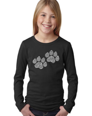 Los Angeles Pop Art Woof Paw Prints Long Sleeve Girls Word Art T-Shirt