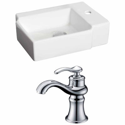American Imaginations 16.25-in. W Above Counter White Vessel Set For 1 Hole Right Faucet - Faucet Included