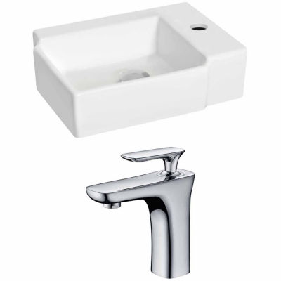 American Imaginations 16.25-in. W Wall Mount White Vessel Set For 1 Hole Right Faucet - Faucet Included