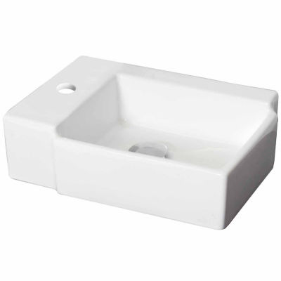 American Imaginations 16.25-in. W Above Counter White Vessel Set For 1 Hole Left Faucet - Faucet Included