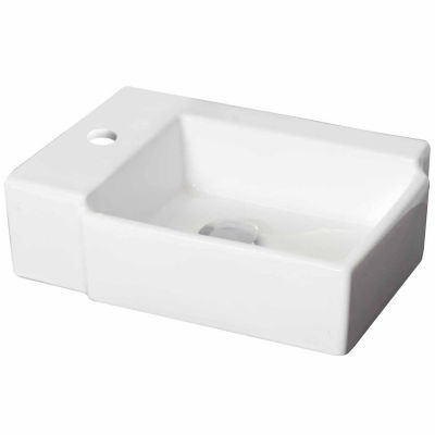 American Imaginations 16.25-in. W Above Counter White Vessel Set For 1 Hole Center Faucet - Faucet Included