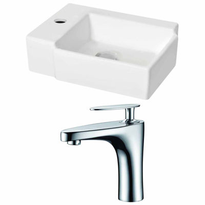American Imaginations 16.25-in. W Wall Mount White Vessel Set For 1 Hole Left Faucet - Faucet Included