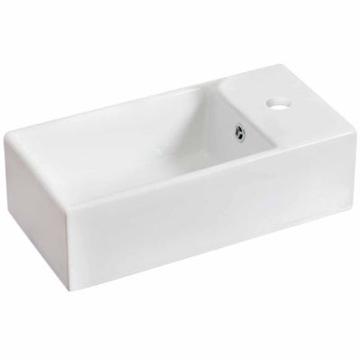 American Imaginations 19.25-in. W Above Counter White Vessel Set For 1 Hole Right Faucet