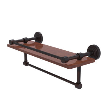 Allied Brass Waverly Place Collection 16 IN Ipe Ironwood Shelf With Gallery Rail And Towel Bar