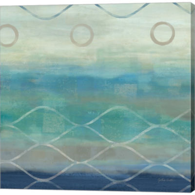 Metaverse Art Abstract Waves Blue/Gray II GalleryWrapped Canvas Wall Art
