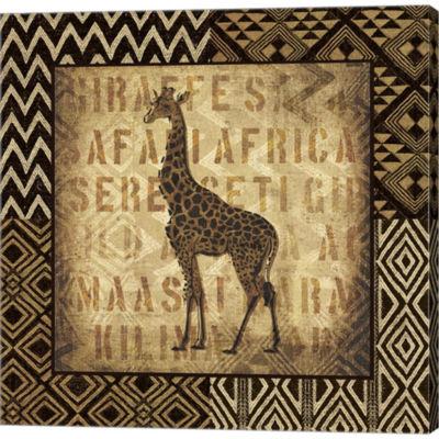 African Wild Giraffe Border Gallery Wrapped CanvasWall Art On Deep Stretch Bars