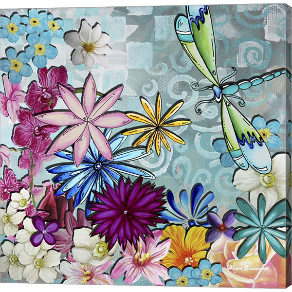 Metaverse Art Aqua Brown Background Floral GalleryWrapped Canvas Wall Art
