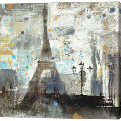 Metaverse Art Eiffel Tower Neutral Gallery WrappedCanvas Wall Art