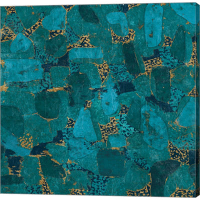 Metaverse Art Gilded Stone Turquoise Gallery Wrapped Canvas Wallart On Deep Stretch Bars