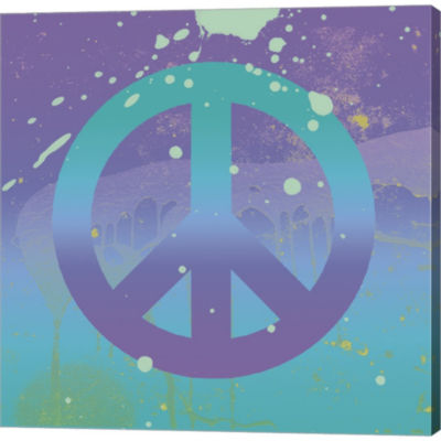 Metaverse Art Groovy Peace Gallery Wrapped CanvasWall Art