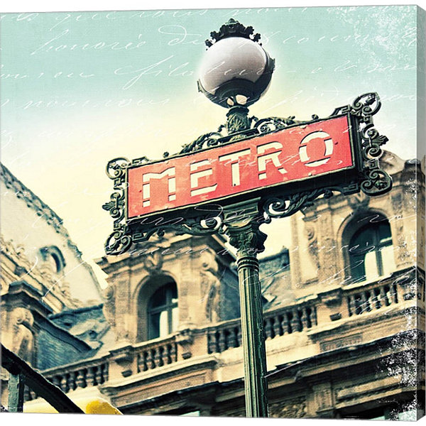 Metaverse Art Paris Metro Letter Gallery Wrapped Canvas Wall Art
