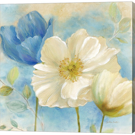 Metaverse Art Watercolor Poppies Ii Blue White Gallery Wrapped Canvas Wall Art