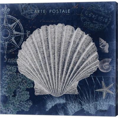 Metaverse Art Seaside Postcard Navy I Gallery Wrapped Canvas Wall Art