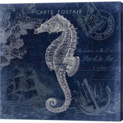 Metaverse Art Seaside Postcard Navy II Gallery Wrapped Canvas Wall Art