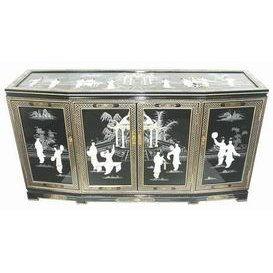 Oriental Furniture Slant Front Accent Cabinet