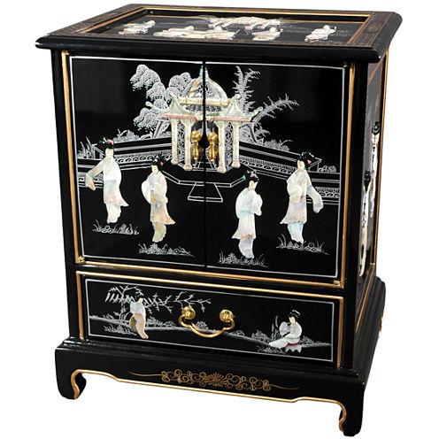 Oriental Furniture Black Lacquer 1-Drawer End Table