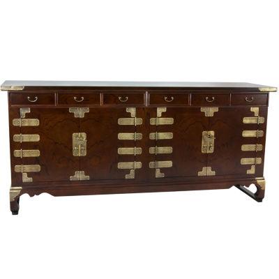 Oriental Furniture Korean Antique Style Double Accent Cabinet