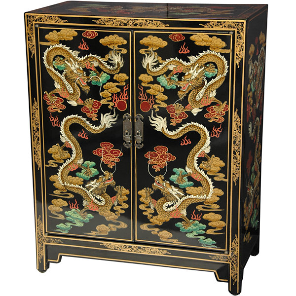 Black Dragons Accent Cabinet