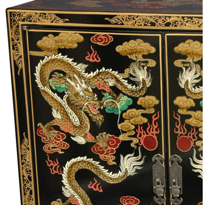 Oriental Furniture Black Dragons Accent Cabinet