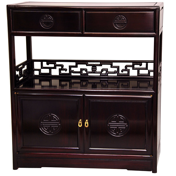 Oriental Furniture Rosewood Long Life Accent Cabinet