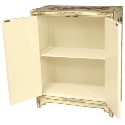 Oriental Furniture Ivory Dragons Lacquer Accent Cabinet