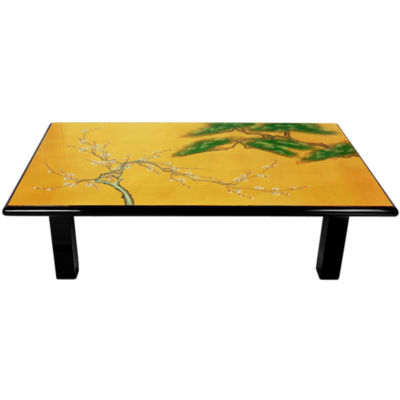 Oriental Furniture Gold Leaf Birds And Flowers Coffee Table