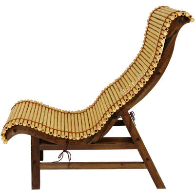Curved Japanese Bamboo Armchair