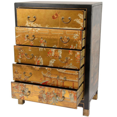 Oriental Furniture Gold Leaf Village Life Accent Chest