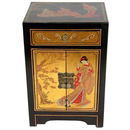 Oriental Furniture Ming Style Gold Leaf 1-Drawer End Table