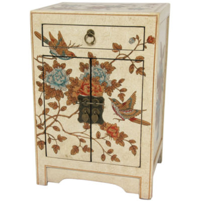 Oriental Furniture Ivory Peaceful Birds 1-Drawer End Table
