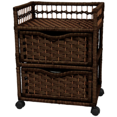 "Oriental Furniture 23"" Natural Fiber On Wheels Accent Chest"""