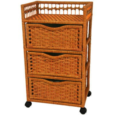 "Oriental Furniture 31"" Natural Fiber On Wheels Accent Chest"""