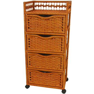 "Oriental Furniture 38"" Natural Fiber On Wheels Accent Chest"""